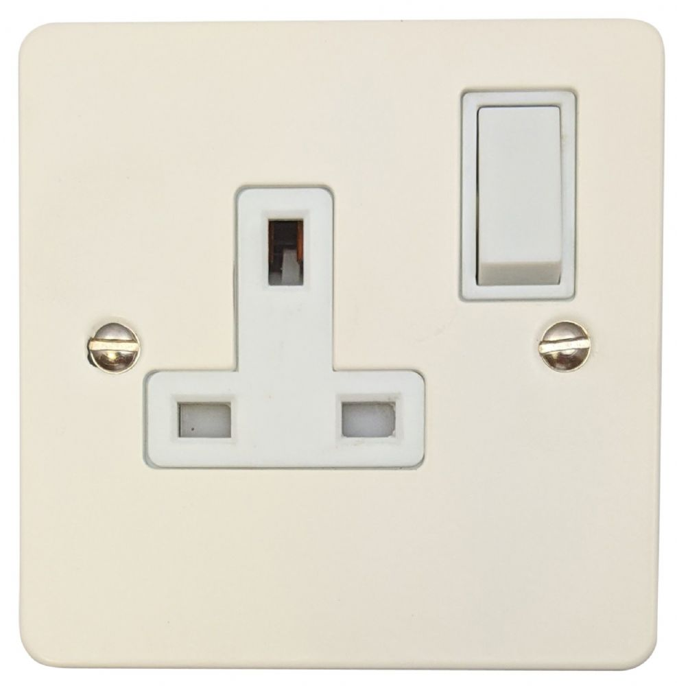 G&H FW9W Flat Plate Matt White 1 Gang Single 13A Switched Plug Socket